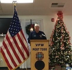 VFW Calabash Post #7288 Commander Rick Arvonio welcomes 27 World War II Veterans and their guests to the Post's 13th annual dinner to honor World War II Veterans and to remember those who gave their lives in the attack on Pearl Harbor. December 9th, 2017.